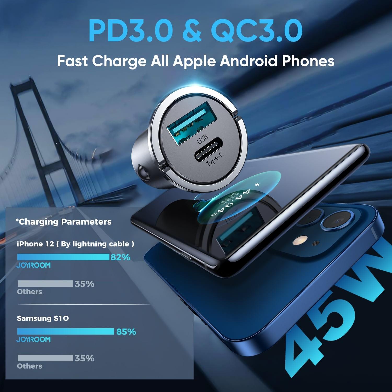 Incarcator Auto Joyroom C-A35 Dual Port Usb A + Usb C PD Total 45W  - Argintiu