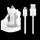 Incarcator Auto Cellara 2.4A Cu Cablu Detasabil Micro Usb - Alb