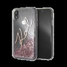 Capac Protectie Spate Karl Lagerfeld Pentru iPhone Xr Colectia Glitter - Roz-Auriu