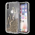 Capac Protectie Spate Karl Lagerfeld Pentru iPhone X Colectia Glitter - Auriu